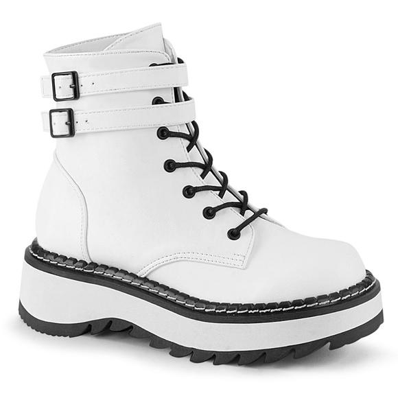 Shoes - Punk Double Buckle Platform Lace Up Ankle Boots